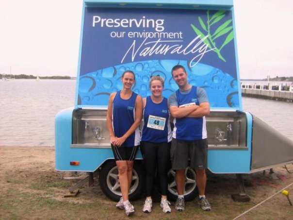 Staff competing in the Corporate tri